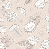 Monochrome seamless pattern with whole and cracked coconuts, blooming flowers and palm branches hand drawn with contour royalty free illustration