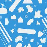 Monochrome Seamless Pattern - Winter sport items Stock Image