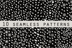10 monochrome seamless patterns with drops. The pattern for wallpaper, tiles, fabrics and designs. Vector stock illustration