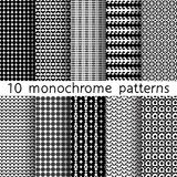 10 monochrome seamless patterns for universal background. Black. And white colors. Endless texture can be used for wallpaper, pattern fill, web page background Stock Photography