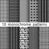 10 monochrome seamless patterns for universal background. Black. And white colors. Endless texture can be used for wallpaper, pattern fill, web page background Stock Image