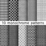 10 monochrome seamless patterns for universal background. Black. And white colors. Endless texture can be used for wallpaper, pattern fill, web page background Stock Illustration