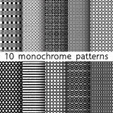 10 monochrome seamless patterns for universal background. Black. And white colors. Endless texture can be used for wallpaper, pattern fill, web page background Vector Illustration