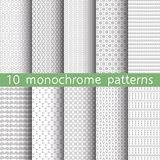10 monochrome seamless patterns. For universal background. Endless texture can be used for wallpaper, pattern fill, web page background. Vector illustration for stock illustration