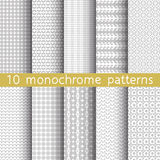 10 monochrome seamless patterns. 10 monochrome seamless patterns for universal background. Endless texture can be used for wallpaper, pattern fill, web page Stock Photo