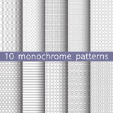10 monochrome seamless patterns. For universal background. Endless texture can be used for wallpaper, pattern fill, web page background. Vector illustration for Stock Images