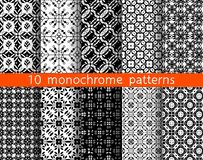 5 monochrome seamless patterns for universal background. Endless texture can be used for wallpaper, pattern fill, web page background. Vector illustration for stock illustration
