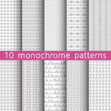 10 monochrome seamless patterns for universal background. Gray a. Nd white colors. Endless texture can be used for wallpaper, pattern fill, web page background Stock Photo