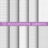10 monochrome seamless patterns for universal background. Gray and white colors. Endless texture can be used for wallpaper, pattern fill, web page background Royalty Free Stock Photography