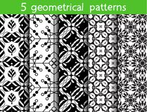 5 monochrome seamless patterns for universal background. Endless texture can be used for wallpaper, pattern fill, web page background. Vector illustration for vector illustration