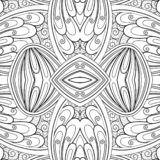 Monochrome Seamless Tile Pattern, Fancy Kaleidoscope stock illustration