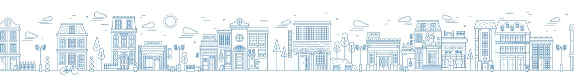 Monochrome seamless urban landscape with city street or district. Cityscape with residential houses and shops drawn with. Contour lines on white background stock illustration
