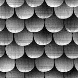 Monochrome seamless vector background black textured circles lined up. White dots in a row on black background. Abstract geometric royalty free illustration