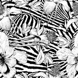Monochrome seamless vintage flower pattern Stock Images