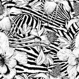 Monochrome seamless vintage flower pattern stock illustration