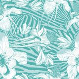 Monochrome seamless vintage flower pattern Royalty Free Stock Images