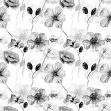 Monochrome seamless wallpaper with wild flowers. Watercolor illustration Stock Image