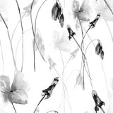 Monochrome seamless wallpapers with beautiful flower. Watercolor painting Royalty Free Stock Photography