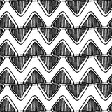 Monochrome seamless zentangle chevron pattern with doodle triangles Stock Images