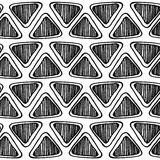 Monochrome seamless zentangle pattern with doodle triangles Stock Image