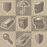 Monochrome security icons Royalty Free Stock Photography