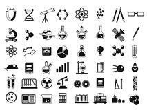 Monochrome set of different chemical symbols and others science icons in flat style. Chemical science laboratory elements. Vector illustration Stock Photo