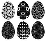 Monochrome set of Easter eggs with pattern 4 Royalty Free Stock Photography