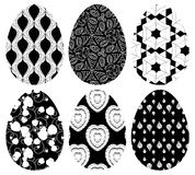 Monochrome set of Easter eggs with pattern Royalty Free Stock Photography