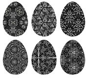 Monochrome set of Easter eggs with pattern 5 Stock Photography