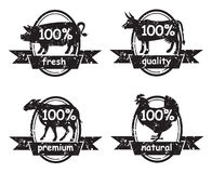 Set of butcher shop labels Stock Photography