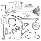 Monochrome set of garden tools. Instruments, hat Royalty Free Stock Photos