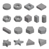 Monochrome set of geometric shapes, platonic solids, illustration. Monochrome set  of geometric shapes, platonic solids, illustration isolated on white Royalty Free Stock Images