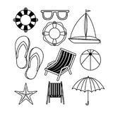 Monochrome set of icons of vacations beach. Vector illustration Royalty Free Stock Photography