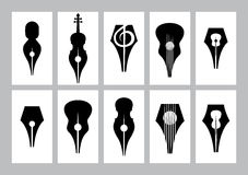 Monochrome set of templates for business card with nib, guitar, violin, treble clef Stock Image