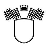Monochrome shield with crown and racing flags Royalty Free Stock Image