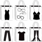 Monochrome Shopping Bags Royalty Free Stock Photography