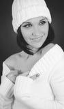 Monochrome shot of caucasian woman Stock Image