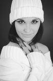 Monochrome Shot Of Caucasian Woman With White Hat Royalty Free Stock Image