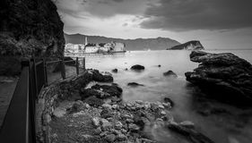 Monochrome shot of sea shore at early morning with long exposure Stock Images