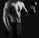 Monochrome shots of a male bodybuilder Royalty Free Stock Photography