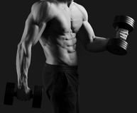 Monochrome shots of a male bodybuilder Royalty Free Stock Photos