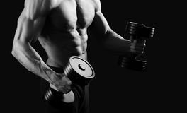 Monochrome shots of a male bodybuilder Royalty Free Stock Images