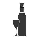 Monochrome silhouette bottle wine with glass cup Stock Image