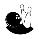 Monochrome silhouette with bowling pins and ball Stock Photo