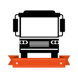 Monochrome silhouette of bus with ribbon Royalty Free Stock Photo