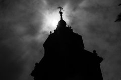 Monochrome silhouette of a church in Talavera Royalty Free Stock Images