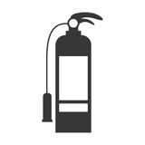 Monochrome silhouette with fire extinguisher Royalty Free Stock Images