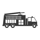 Monochrome silhouette with fire truck. Vector illustration Royalty Free Stock Images