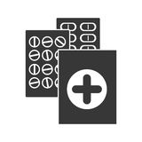 Monochrome silhouette with first aid kit and pills Stock Image