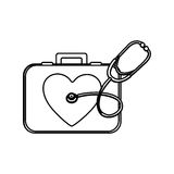 Monochrome silhouette with first aid kit with symbol of heart and stethoscope. Illustration Stock Images